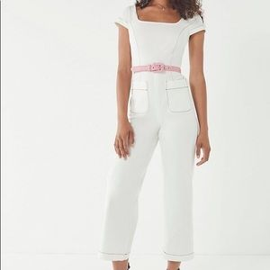 Urban Outfitters Square Neck White Jumpsuit